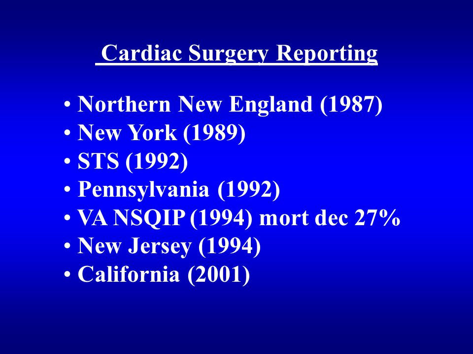 Cardiac Surgery Reporting Northern New England (1987) New York (1989) STS (1992) Pennsylvania (1992) VA NSQIP (1994) mort dec 27% New Jersey (1994) California (2001)