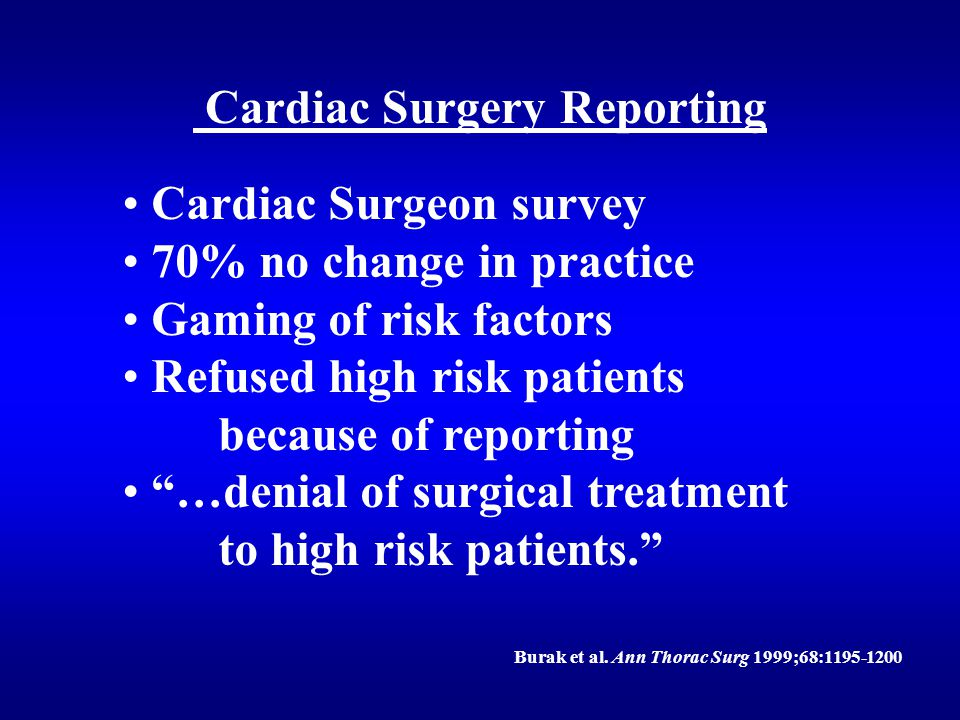"""Cardiac Surgery Reporting Cardiac Surgeon survey 70% no change in practice Gaming of risk factors Refused high risk patients because of reporting """"…de"""
