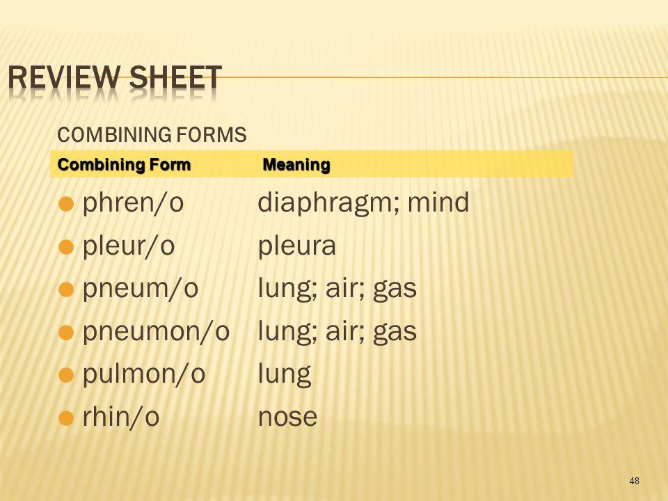 48 COMBINING FORMS  phren/odiaphragm; mind  pleur/opleura  pneum/olung; air; gas  pneumon/olung; air; gas  pulmon/olung  rhin/onose Combining Form Meaning