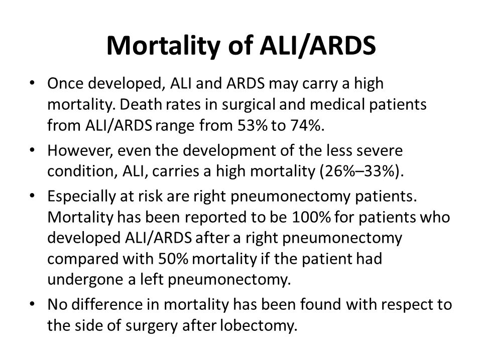 Mortality of ALI/ARDS Once developed, ALI and ARDS may carry a high mortality. Death rates in surgical and medical patients from ALI/ARDS range from 5