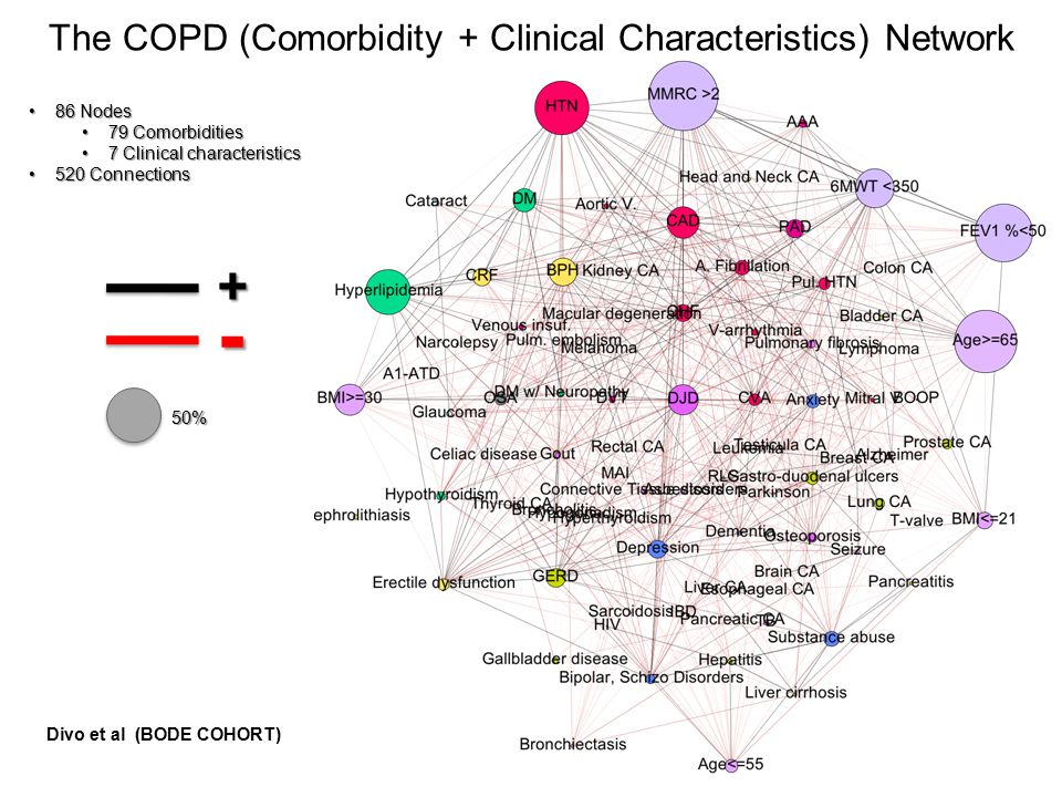 The COPD (Comorbidity + Clinical Characteristics) Network 86 Nodes86 Nodes 79 Comorbidities79 Comorbidities 7 Clinical characteristics7 Clinical chara