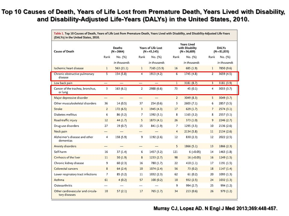 Top 10 Causes of Death, Years of Life Lost from Premature Death, Years Lived with Disability, and Disability-Adjusted Life-Years (DALYs) in the United