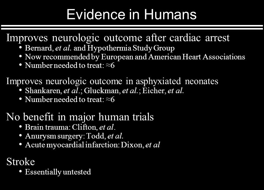 Evidence in Humans Improves neurologic outcome after cardiac arrest Bernard, et al.