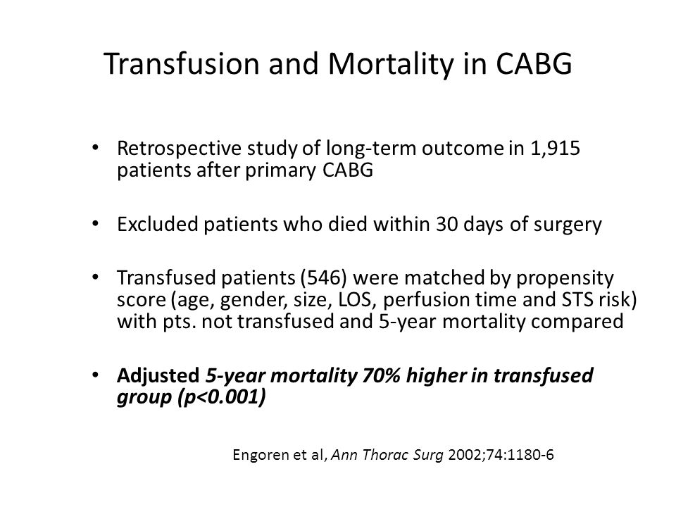 Transfusion and Mortality in CABG Retrospective study of long-term outcome in 1,915 patients after primary CABG Excluded patients who died within 30 d