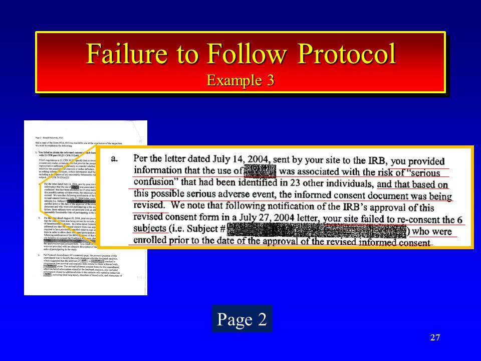 27 Failure to Follow Protocol Example 3 Failure to Follow Protocol Example 3 Page 2