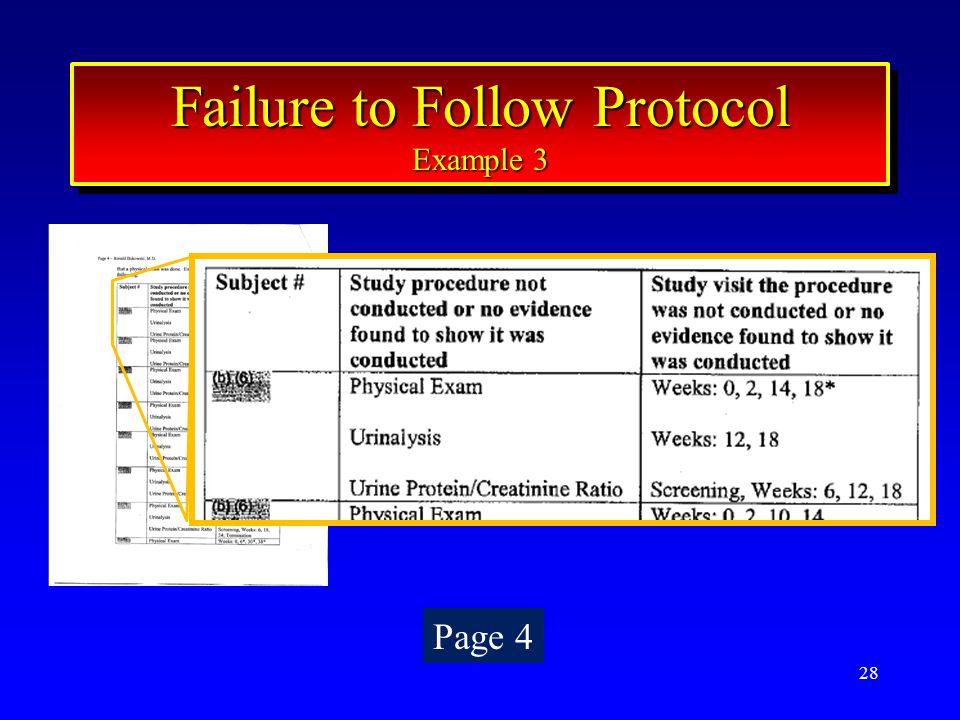 28 Failure to Follow Protocol Example 3 Failure to Follow Protocol Example 3 Page 4