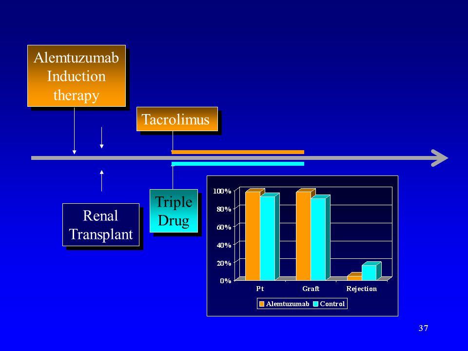 37 Alemtuzumab Induction therapy Alemtuzumab Induction therapy Tacrolimus Triple Drug Triple Drug Renal Transplant Renal Transplant
