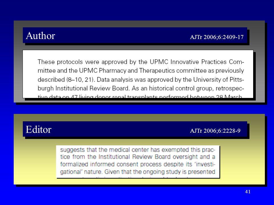 41 Author AJTr 2006;6:2409-17 Editor AJTr 2006;6:2228-9