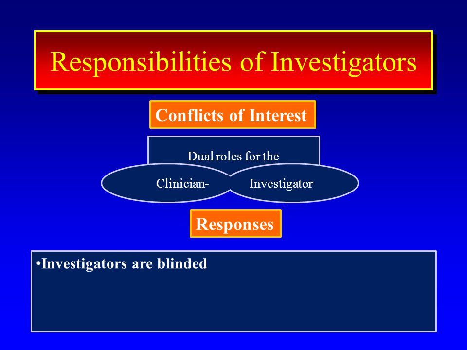 Dual roles for the 42 ResponseResponse Conflicts of Interest Interest Responsibilities of Investigators Conflicts of Interest Clinician-Investigator Responses Investigators are blinded