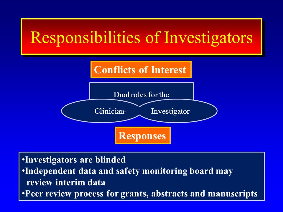 Dual roles for the 44 ResponseResponse Conflicts of Interest Interest Responsibilities of Investigators Conflicts of Interest Clinician-Investigator R