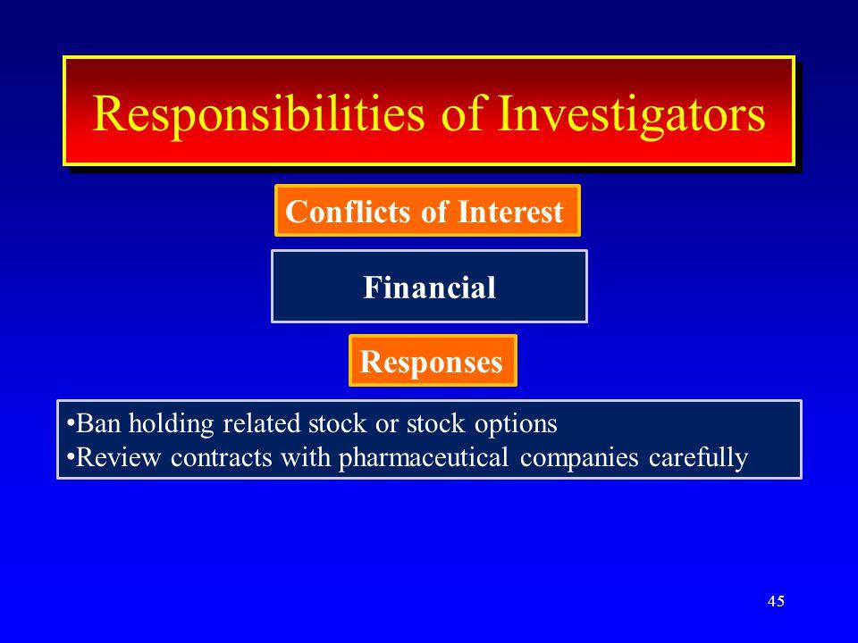 Financial 45 ResponseResponse Conflicts of Interest Interest Responsibilities of Investigators Conflicts of Interest Responses Ban holding related sto