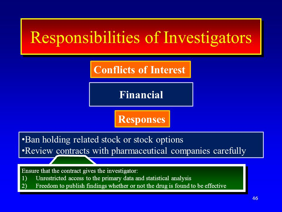 Financial 46 ResponseResponse Conflicts of Interest Interest Responsibilities of Investigators Conflicts of Interest Responses Ban holding related stock or stock options Review contracts with pharmaceutical companies carefully Ensure that the contract gives the investigator: 1)Unrestricted access to the primary data and statistical analysis 2)Freedom to publish findings whether or not the drug is found to be effective Ensure that the contract gives the investigator: 1)Unrestricted access to the primary data and statistical analysis 2)Freedom to publish findings whether or not the drug is found to be effective
