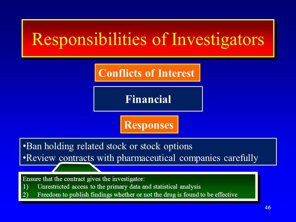 Financial 46 ResponseResponse Conflicts of Interest Interest Responsibilities of Investigators Conflicts of Interest Responses Ban holding related sto