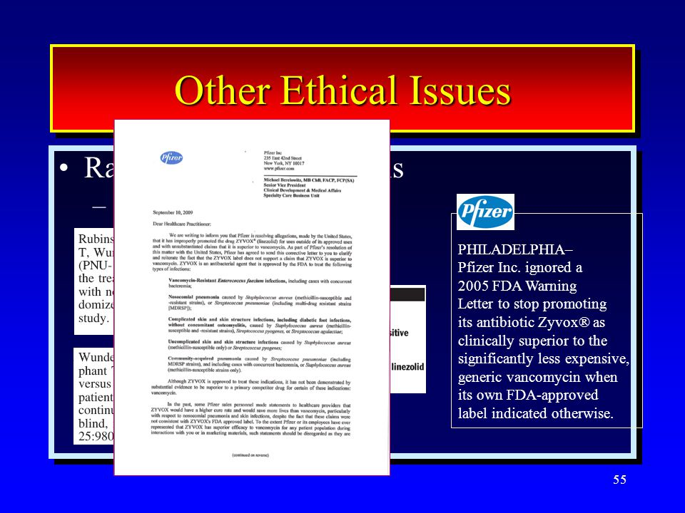 55 Other Ethical Issues Randomized clinical trials –Equipoise Randomized clinical trials –Equipoise PHILADELPHIA– Pfizer Inc. ignored a 2005 FDA Warni