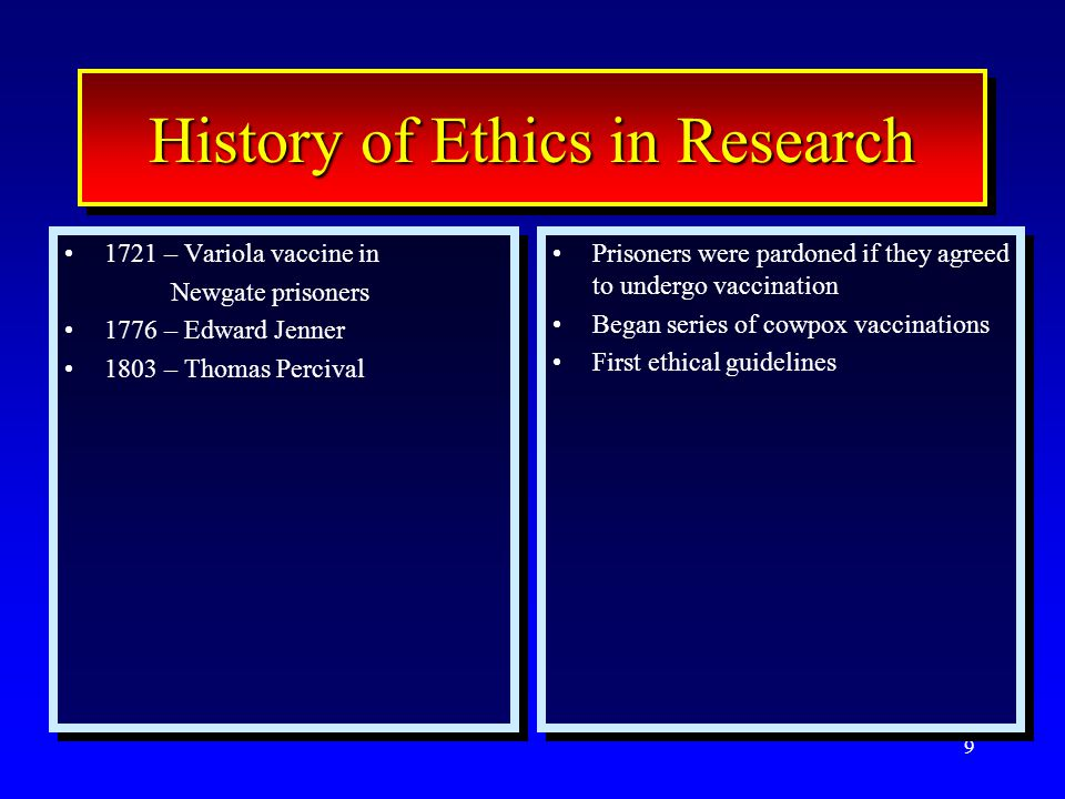 10 History of Ethics in Research 1721 – Variola vaccine in Newgate prisoners 1776 – Edward Jenner 1803 – Thomas Percival ~1850 – William Beaumont 1931 – Reichgesundheitsrat Circular 1721 – Variola vaccine in Newgate prisoners 1776 – Edward Jenner 1803 – Thomas Percival ~1850 – William Beaumont 1931 – Reichgesundheitsrat Circular Prisoners were pardoned if they agreed to undergo vaccination Began series of cowpox vaccinations First ethical guidelines Concept of informed consent Guidelines with informed consent Prisoners were pardoned if they agreed to undergo vaccination Began series of cowpox vaccinations First ethical guidelines Concept of informed consent Guidelines with informed consent