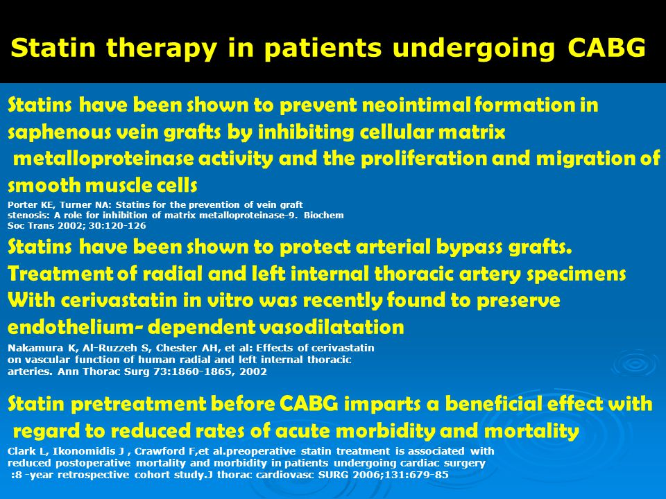 Statin therapy in patients undergoing CABG Statins have been shown to prevent neointimal formation in saphenous vein grafts by inhibiting cellular matrix metalloproteinase activity and the proliferation and migration of smooth muscle cells Porter KE, Turner NA: Statins for the prevention of vein graft stenosis: A role for inhibition of matrix metalloproteinase-9.