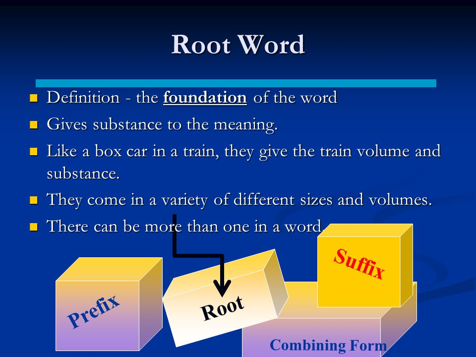 Root Word Definition - the foundation of the word Definition - the foundation of the word Gives substance to the meaning.