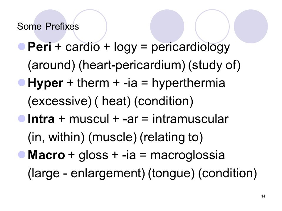 14 Some Prefixes Peri + cardio + logy = pericardiology (around) (heart-pericardium) (study of) Hyper + therm + -ia = hyperthermia (excessive) ( heat)
