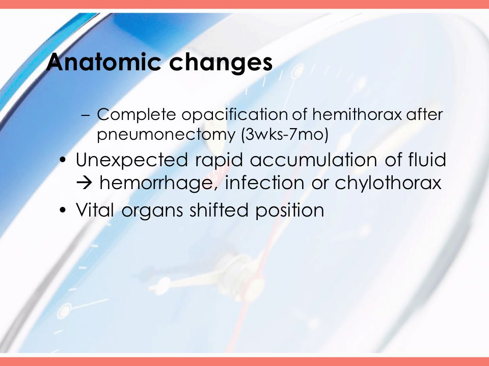 Anatomic changes –Complete opacification of hemithorax after pneumonectomy (3wks-7mo) Unexpected rapid accumulation of fluid  hemorrhage, infection o