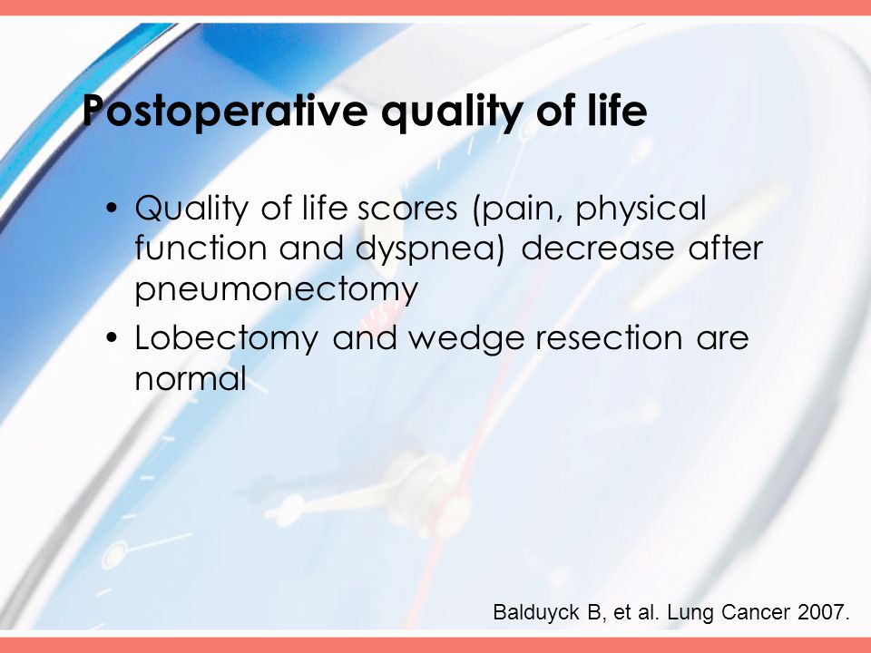Postoperative quality of life Quality of life scores (pain, physical function and dyspnea) decrease after pneumonectomy Lobectomy and wedge resection