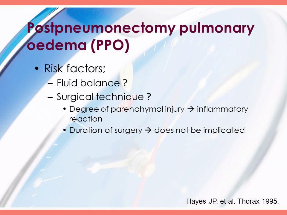 Postpneumonectomy pulmonary oedema (PPO) Risk factors; –Fluid balance .