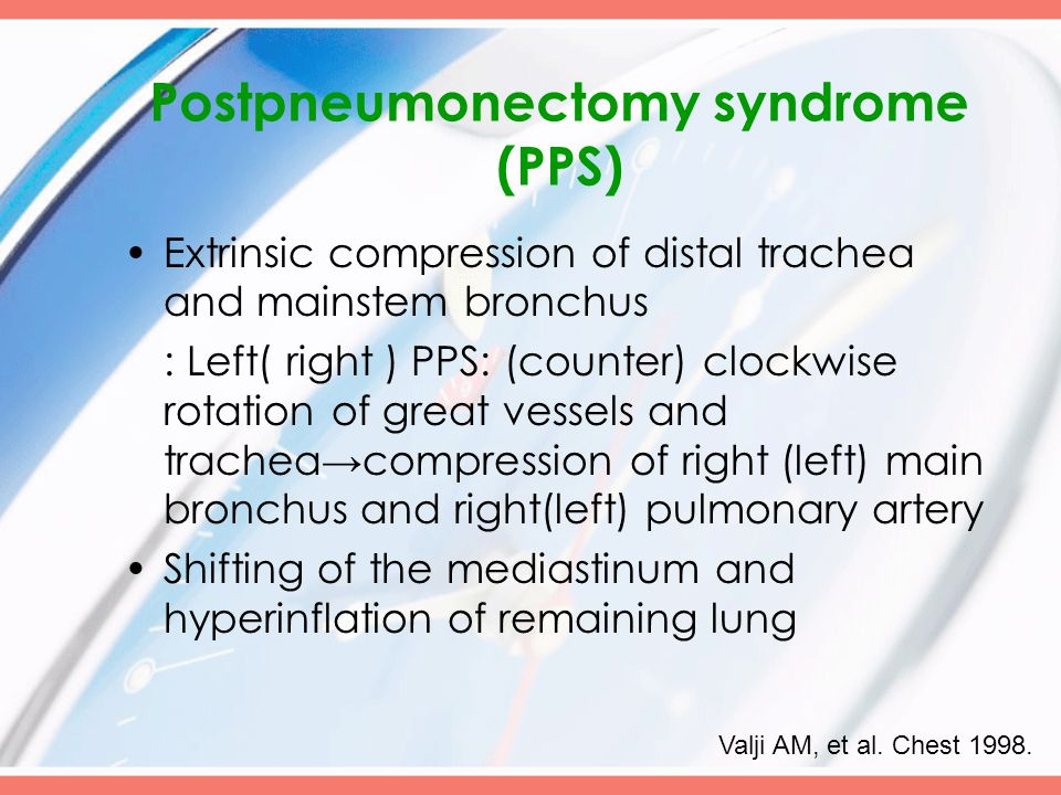 Postpneumonectomy syndrome (PPS) Extrinsic compression of distal trachea and mainstem bronchus : Left( right ) PPS: (counter) clockwise rotation of great vessels and trachea→compression of right (left) main bronchus and right(left) pulmonary artery Shifting of the mediastinum and hyperinflation of remaining lung Valji AM, et al.