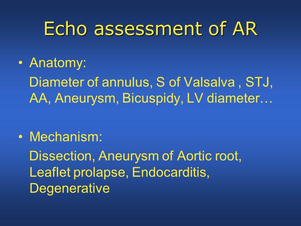 Echo assessment of AR Anatomy: Diameter of annulus, S of Valsalva, STJ, AA, Aneurysm, Bicuspidy, LV diameter… Mechanism: Dissection, Aneurysm of Aorti