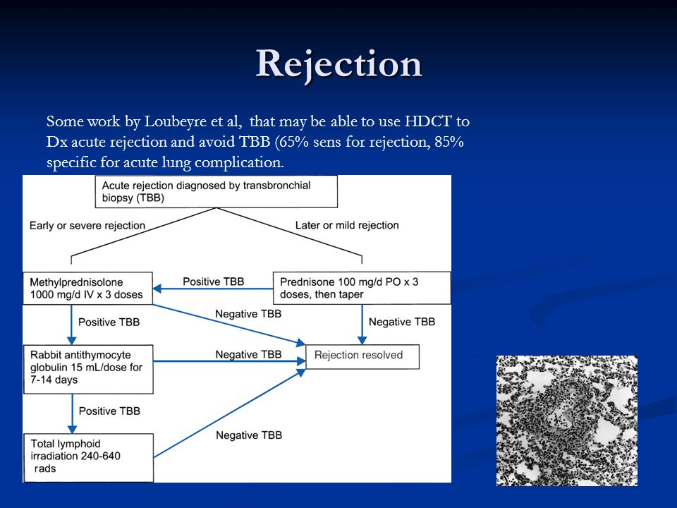 Rejection Some work by Loubeyre et al, that may be able to use HDCT to Dx acute rejection and avoid TBB (65% sens for rejection, 85% specific for acute lung complication.