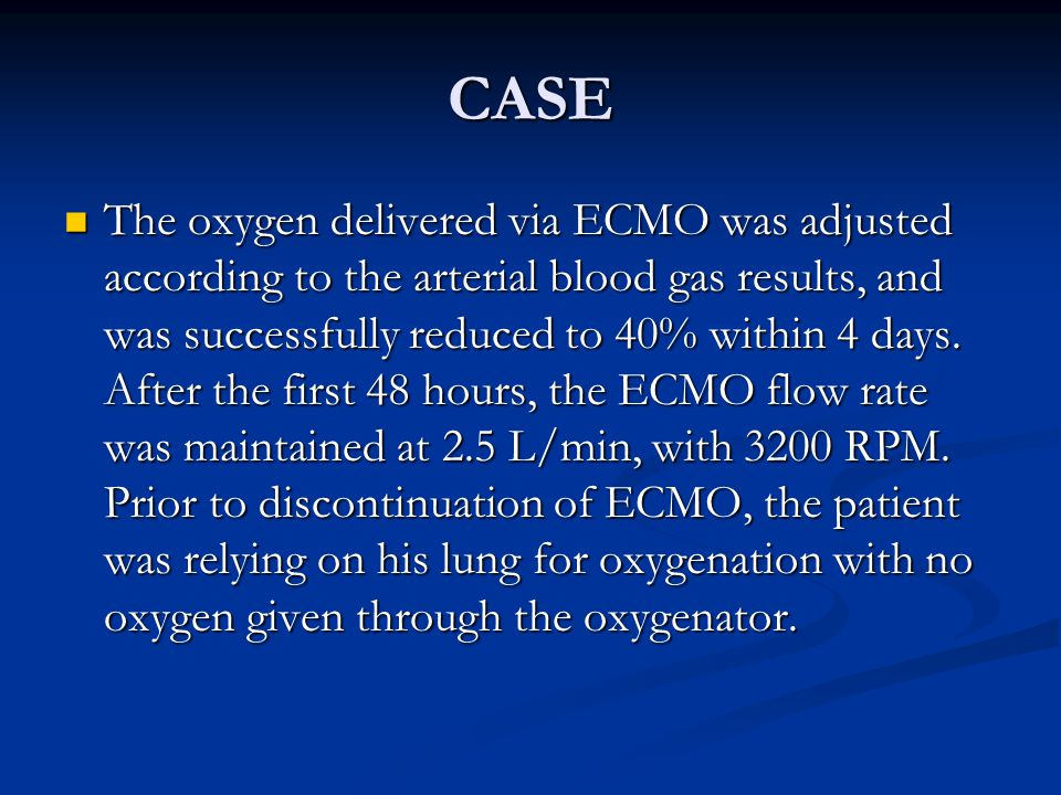 CASE The oxygen delivered via ECMO was adjusted according to the arterial blood gas results, and was successfully reduced to 40% within 4 days.