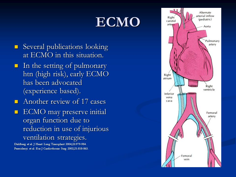 ECMO Several publications looking at ECMO in this situation.