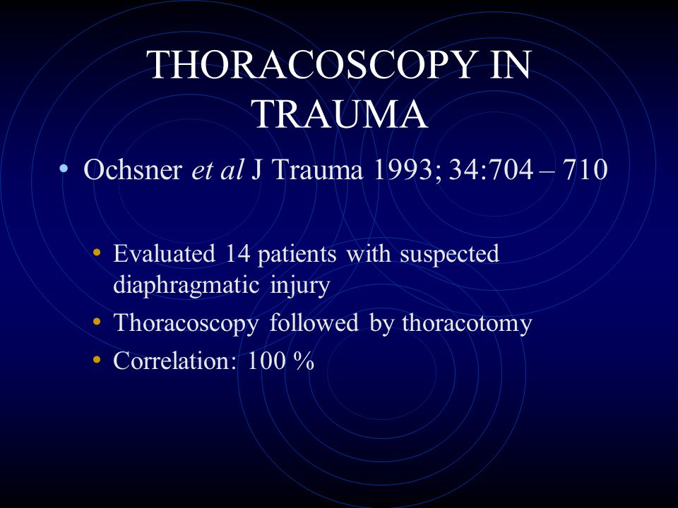 POST-TRAUMATIC EMPYEMA Patterson et al J Thorac Cardiovasc Surg 1968 Military setting (Viet Nam): 6 % Millikan et al Am J Surg 1980 Civilian setting: 2 %