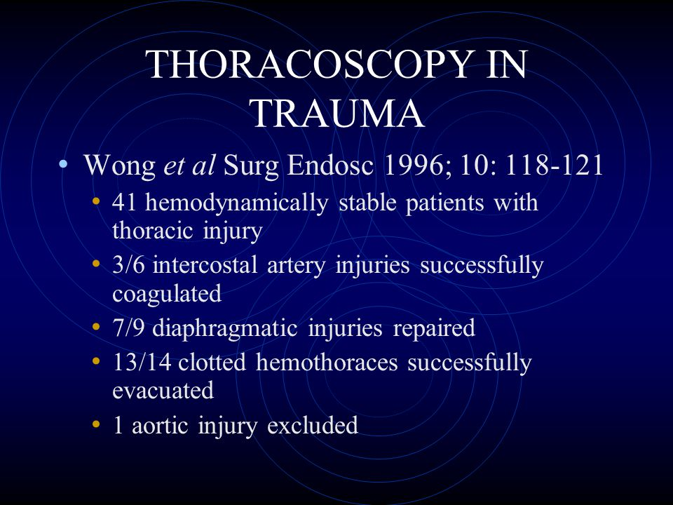 THORACOSCOPY IN TRAUMA Ochsner et al J Trauma 1993; 34:704 – 710 Evaluated 14 patients with suspected diaphragmatic injury Thoracoscopy followed by thoracotomy Correlation: 100 %