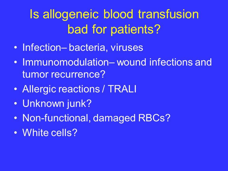 Homologous Transfusion- Free Surgery Keep patient warm.