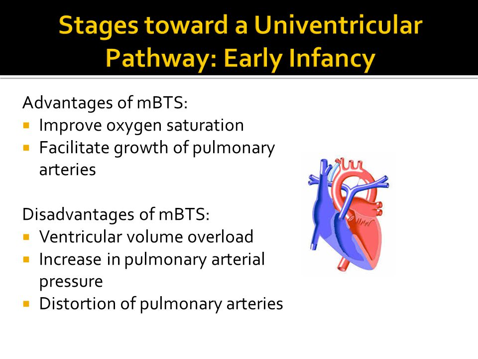 Advantages of mBTS:  Improve oxygen saturation  Facilitate growth of pulmonary arteries Disadvantages of mBTS:  Ventricular volume overload  Incre
