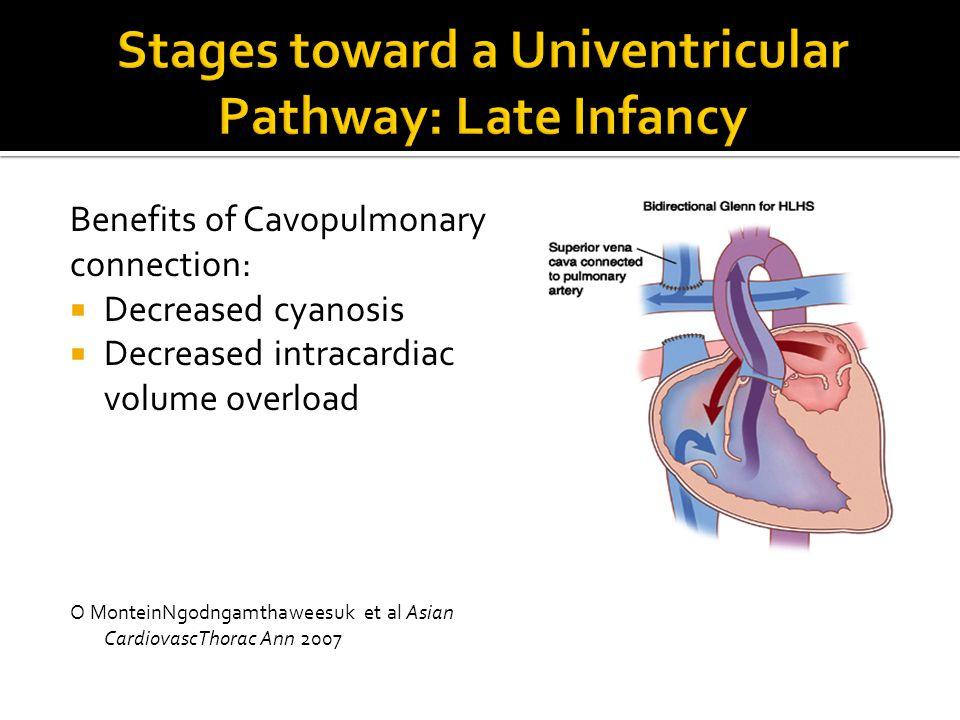 Benefits of Cavopulmonary connection:  Decreased cyanosis  Decreased intracardiac volume overload O MonteinNgodngamthaweesuk et al Asian CardiovascT
