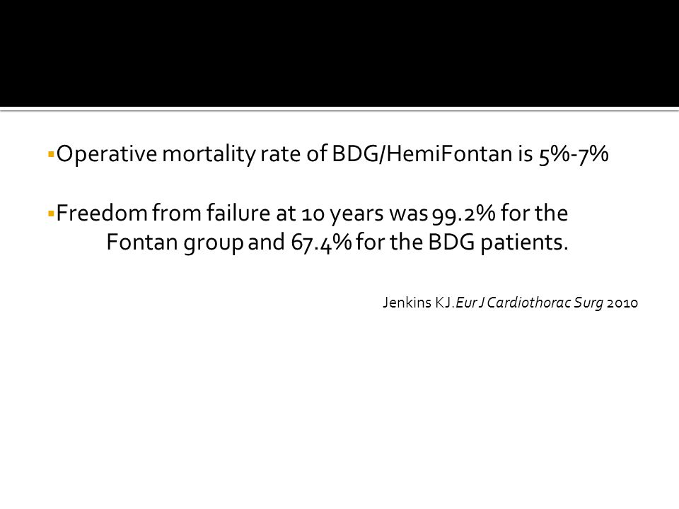  Operative mortality rate of BDG/HemiFontan is 5%-7%  Freedom from failure at 10 years was 99.2% for the Fontan group and 67.4% for the BDG patients