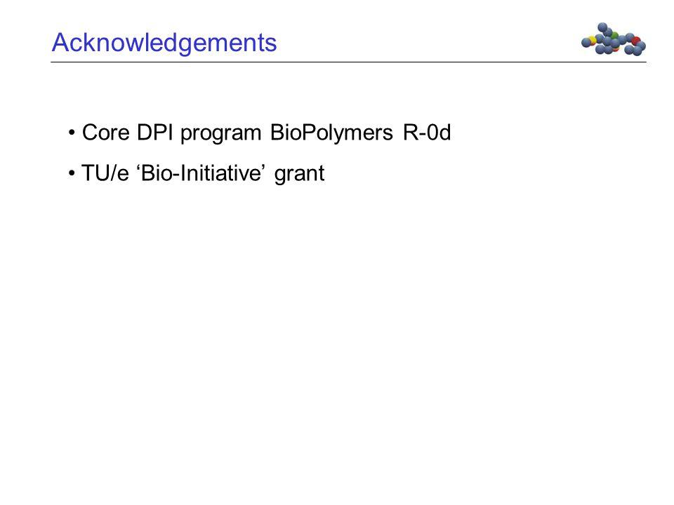Acknowledgements Core DPI program BioPolymers R-0d TU/e 'Bio-Initiative' grant