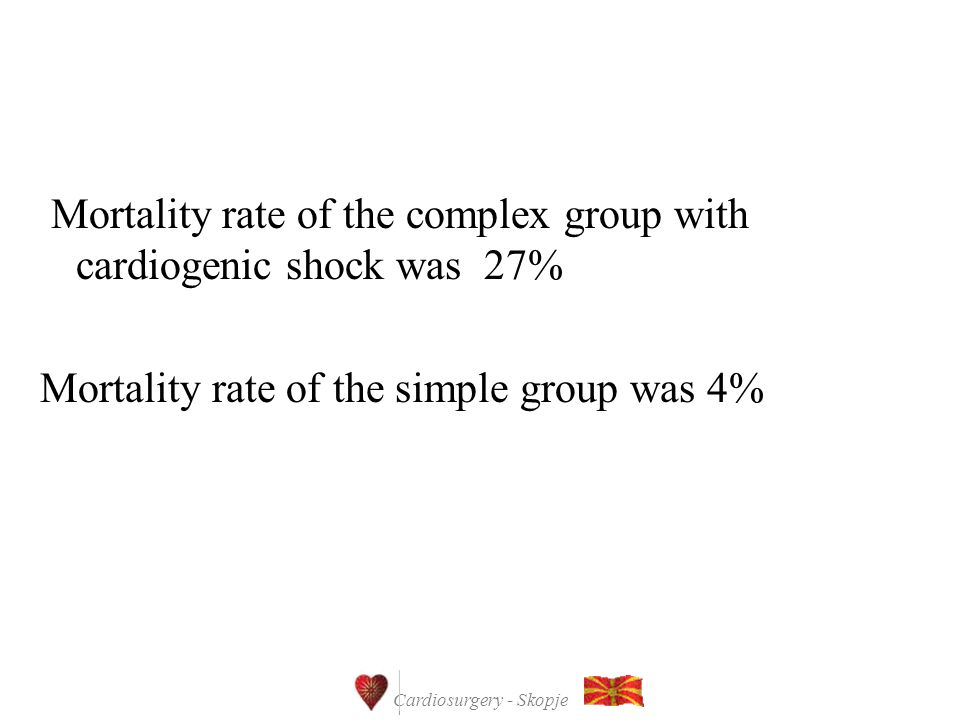 Cardiosurgery - Skopje Mortality rate of the complex group with cardiogenic shock was 27% Mortality rate of the simple group was 4%