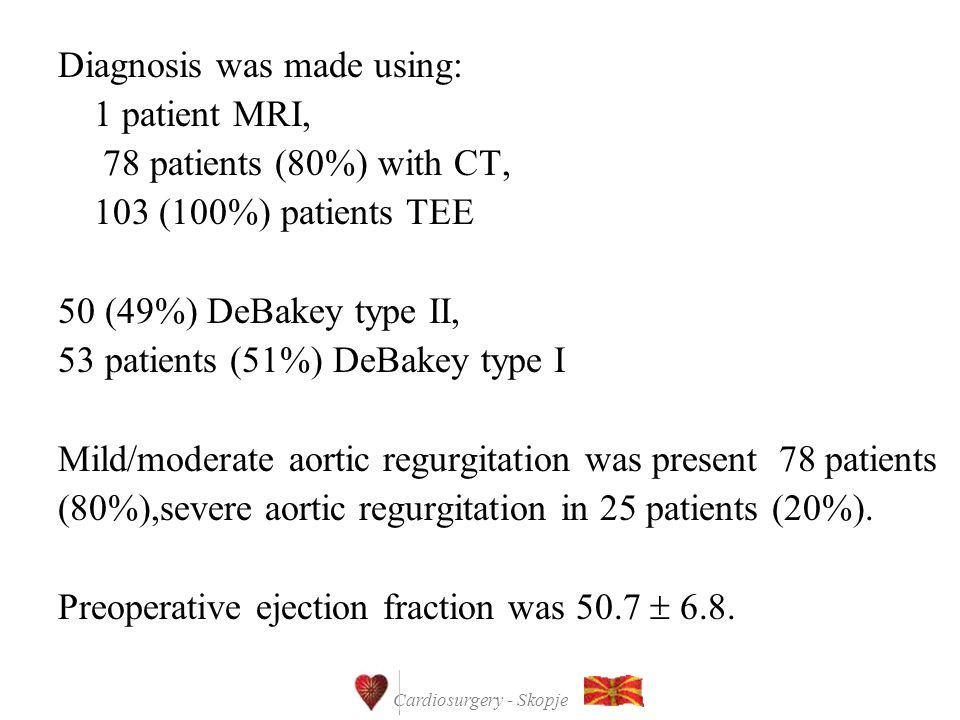 Cardiosurgery - Skopje Diagnosis was made using: 1 patient MRI, 78 patients (80%) with CT, 103 (100%) patients TEE 50 (49%) DeBakey type II, 53 patien