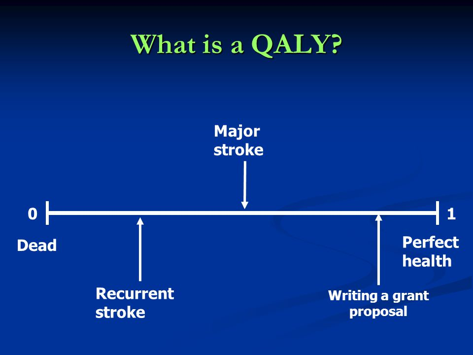 What is a QALY 01 Dead Perfect health Major stroke Recurrent stroke Writing a grant proposal