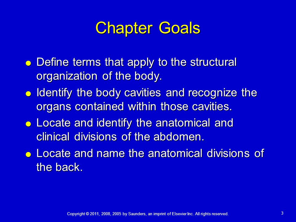 3 Chapter Goals  Define terms that apply to the structural organization of the body.