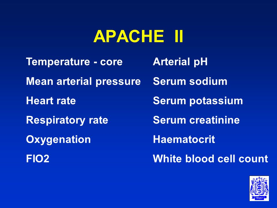 APACHE II Developed for use in intensive care setting Takes no account of surgical insult