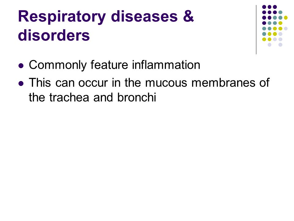 Respiratory diseases & disorders Commonly feature inflammation This can occur in the mucous membranes of the trachea and bronchi