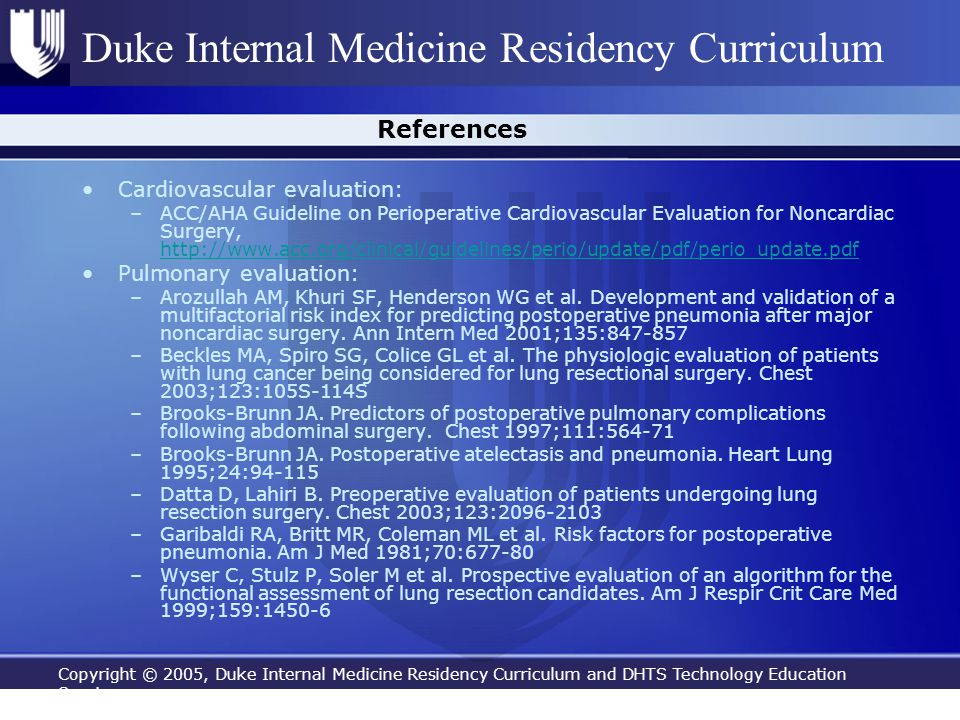 Copyright © 2005, Duke Internal Medicine Residency Curriculum and DHTS Technology Education Services Duke Internal Medicine Residency Curriculum Refer