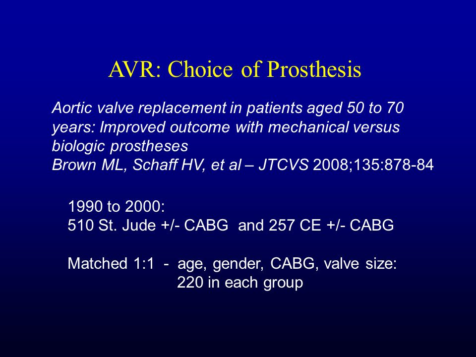 Aortic valve replacement in patients aged 50 to 70 years: Improved outcome with mechanical versus biologic prostheses Brown ML, Schaff HV, et al – JTCVS 2008;135:878-84 1990 to 2000: 510 St.