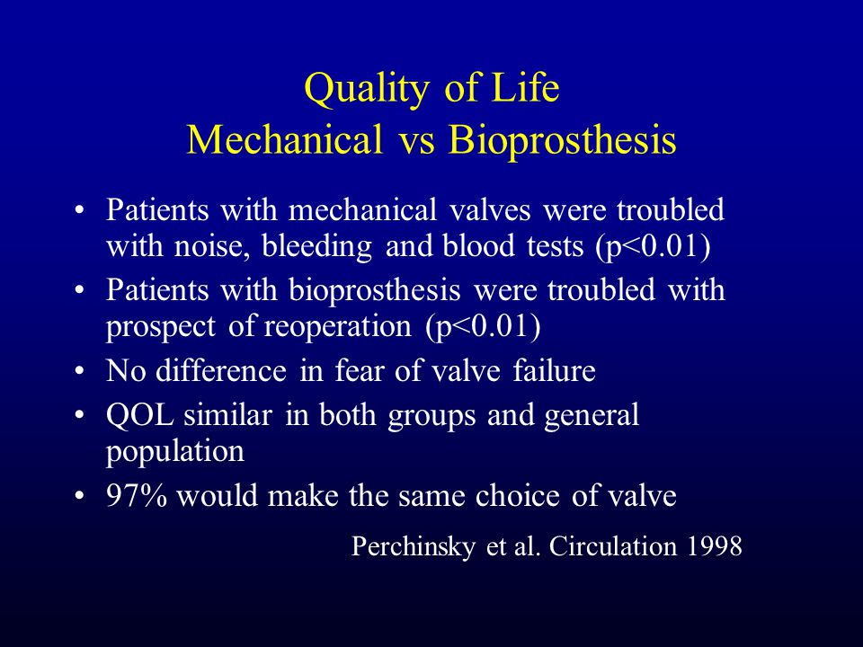 Quality of Life Mechanical vs Bioprosthesis Patients with mechanical valves were troubled with noise, bleeding and blood tests (p<0.01) Patients with bioprosthesis were troubled with prospect of reoperation (p<0.01) No difference in fear of valve failure QOL similar in both groups and general population 97% would make the same choice of valve Perchinsky et al.