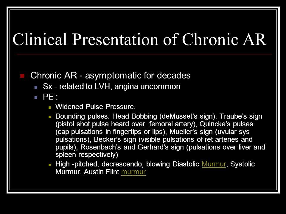 Clinical Presentation & Diagnosis: Acute AR: PE: .