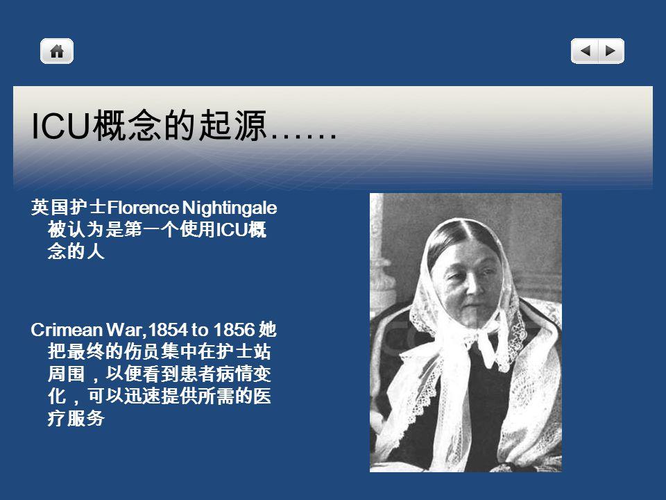 ICU 概念的起源 …… 英国护士 Florence Nightingale 被认为是第一个使用 ICU 概 念的人 Crimean War,1854 to 1856 她 把最终的伤员集中在护士站 周围,以便看到患者病情变 化,可以迅速提供所需的医 疗服务