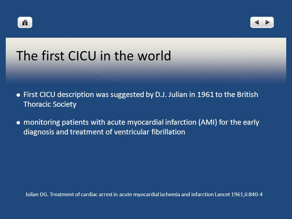 The first CICU in the world First CICU description was suggested by D.J.