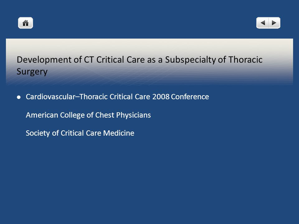 Development of CT Critical Care as a Subspecialty of Thoracic Surgery Cardiovascular–Thoracic Critical Care 2008 Conference American College of Chest Physicians Society of Critical Care Medicine